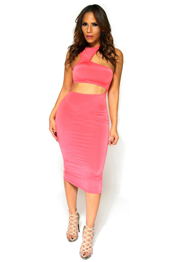 Clubbing Coral Bodycon Midi Dress With Sexy Cutouts - MY SEXY STYLES