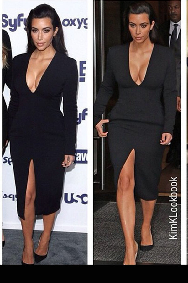 Slimming V-Neck Quarter Sleeve With Front Slit Classy Midi Dress In Black - MY SEXY STYLES  - 1