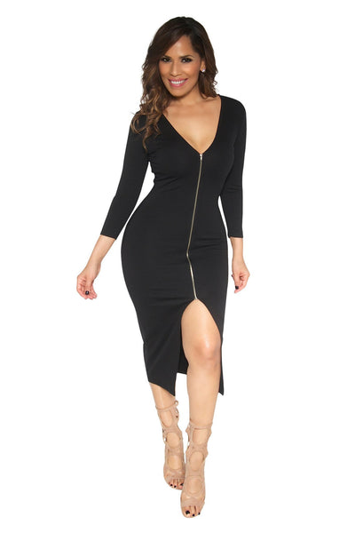 Slimming V-Neck Quarter Sleeve With Front Slit Classy Midi Dress In Black - MY SEXY STYLES  - 4
