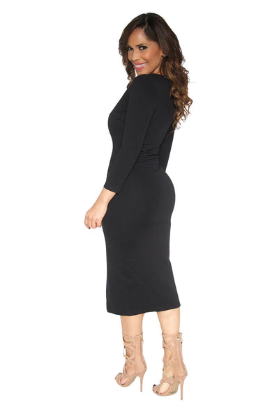 Slimming V-Neck Quarter Sleeve With Front Slit Classy Midi Dress In Black - MY SEXY STYLES  - 3
