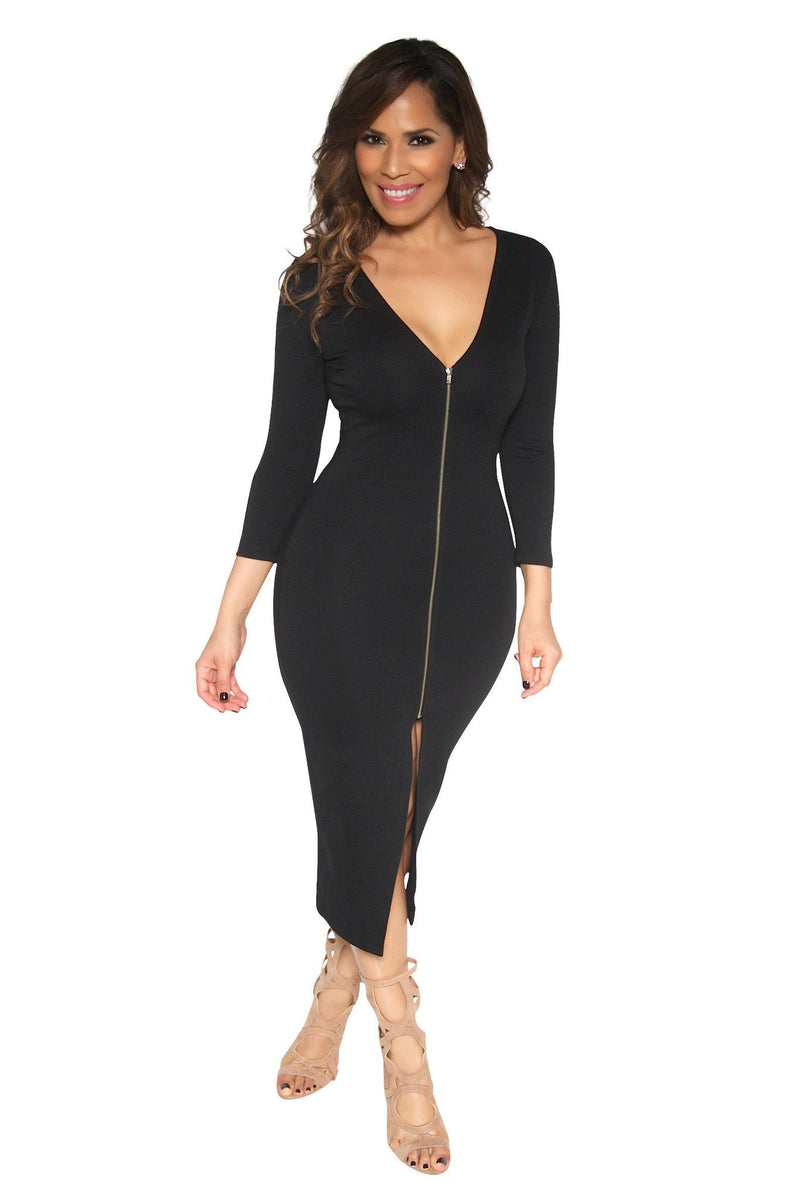Slimming V-Neck Quarter Sleeve With Front Slit Classy Midi Dress In Black - MY SEXY STYLES