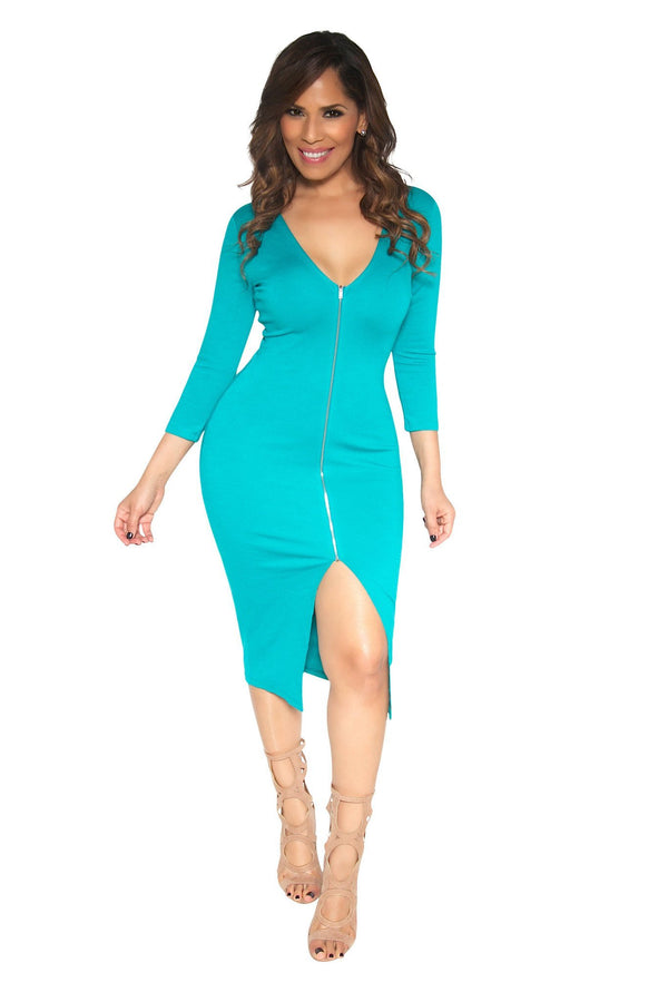 Slimming V-Neck Quarter Sleeve With Front Slit Classy Midi Dress In Teal - MY SEXY STYLES