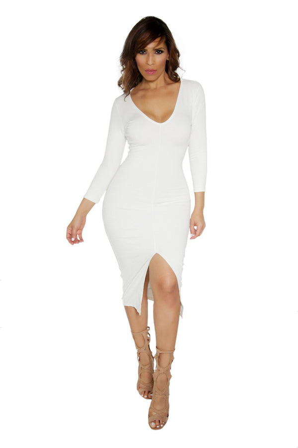 Slimming V-Neck Quarter Sleeve With Front Slit Classy Midi Dress in Ivory - MY SEXY STYLES  - 6