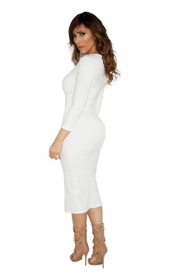 Slimming V-Neck Quarter Sleeve With Front Slit Classy Midi Dress in Ivory - MY SEXY STYLES  - 3