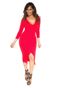 Slimming V-Neck Quarter Sleeve With Front Slit Classy Midi Dress in Red - MY SEXY STYLES