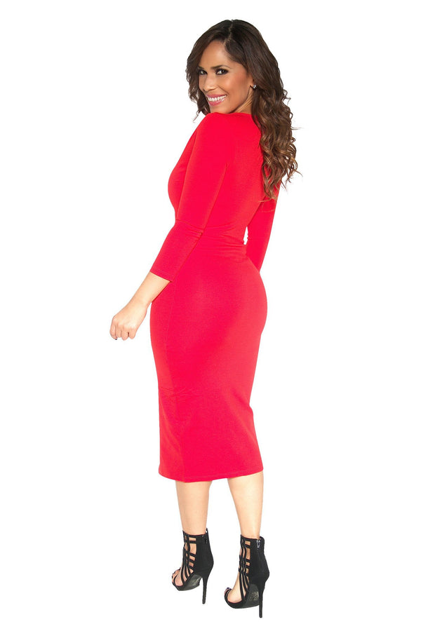 Slimming V-Neck Quarter Sleeve With Front Slit Classy Midi Dress in Red - MY SEXY STYLES  - 3