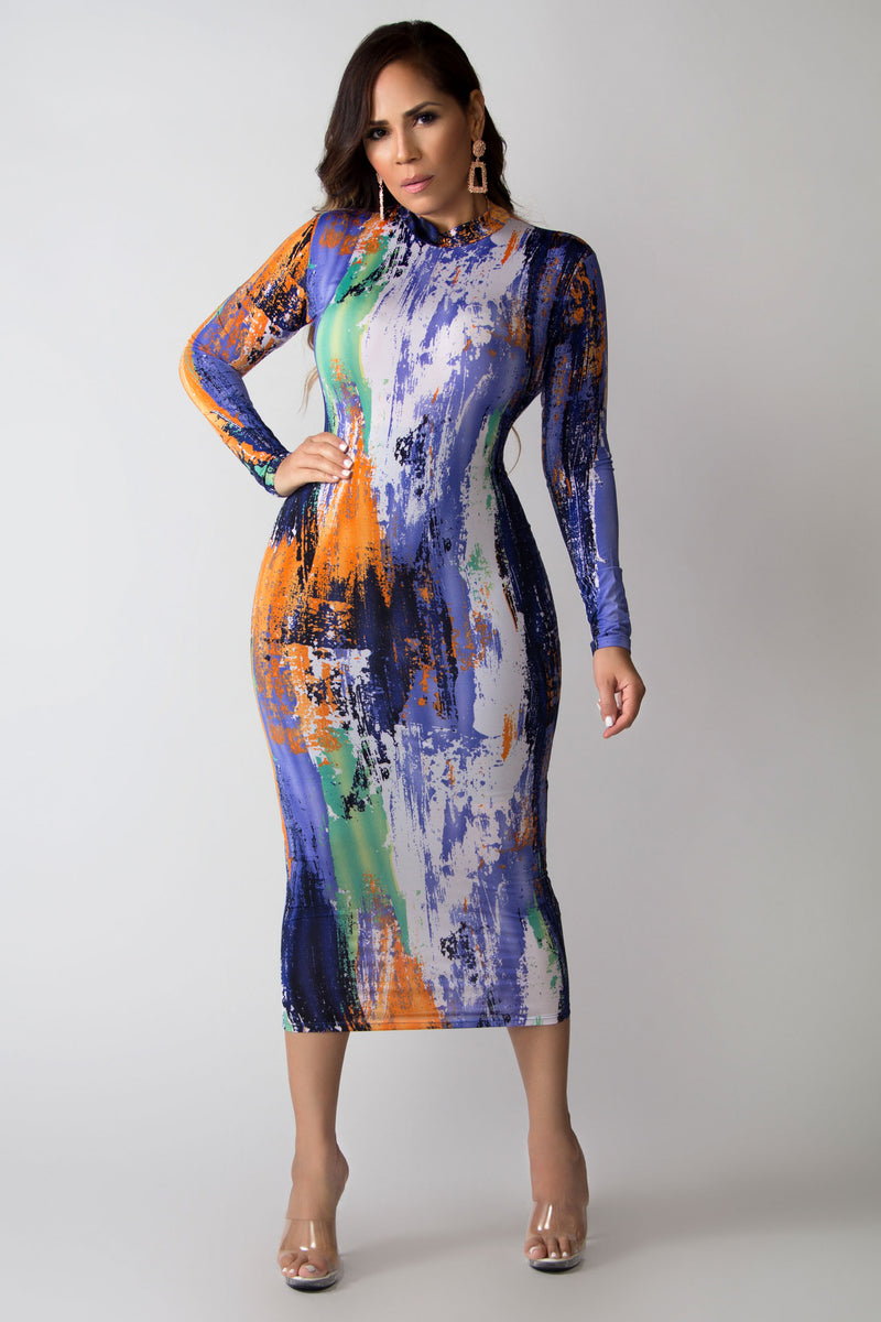 So Chic Abstract Print Mock Neck Midi Dress