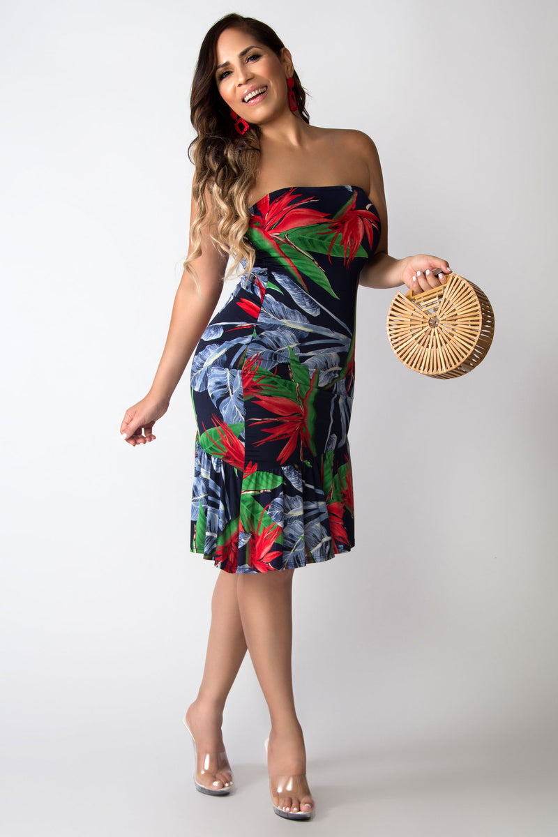 So Feminine Tube Ruffle Floral Print Dress