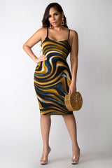 So Flirty Abstract Print Spaghetti Strap Midi Dress