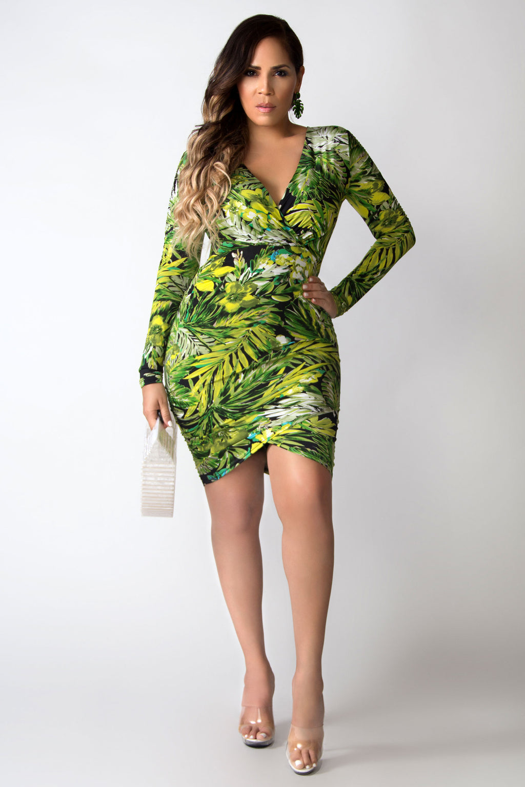 So Sexy Shirred Printed Wrap Dress