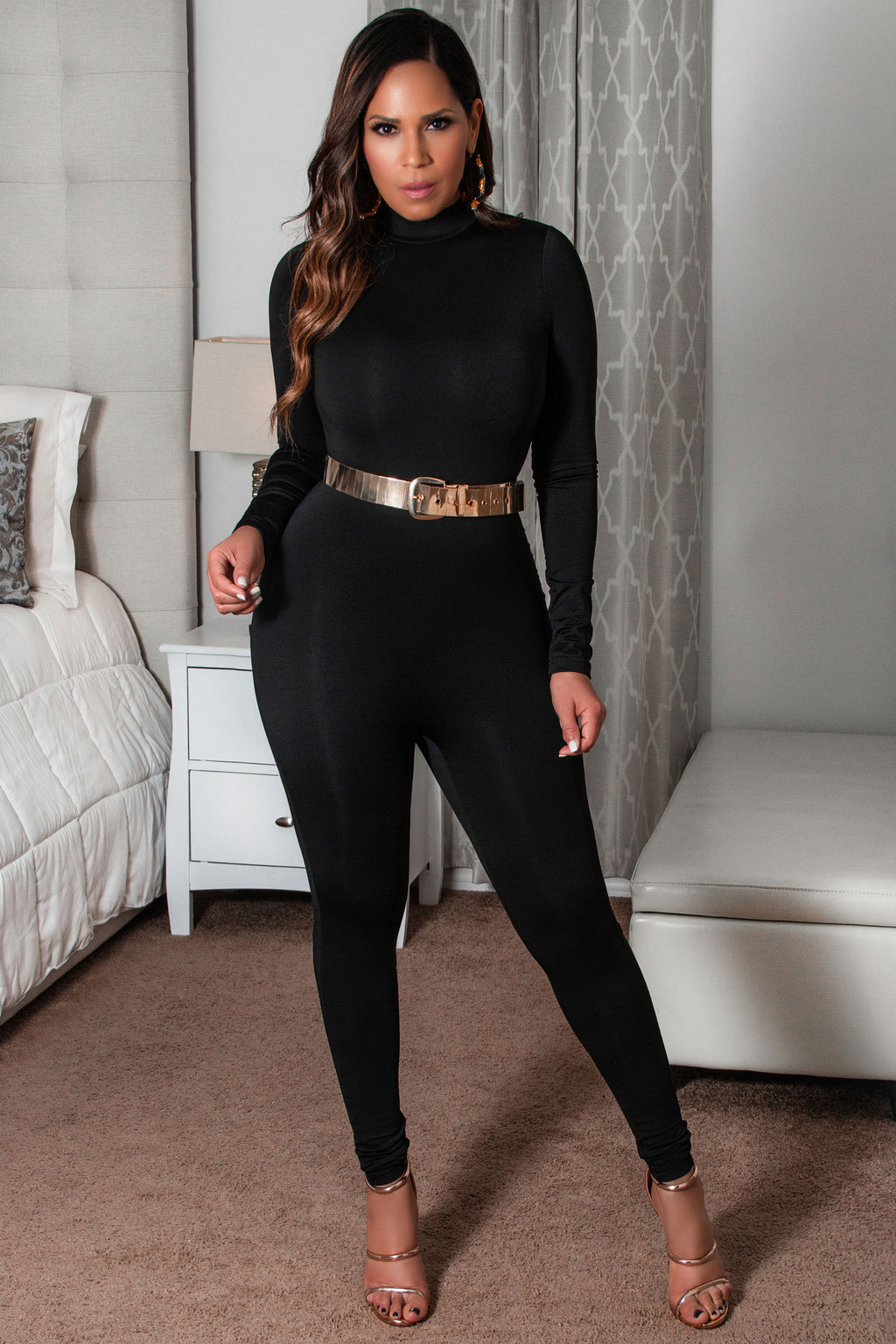 Sophie High Neck Long Sleeve Bodysuit Jumpsuit