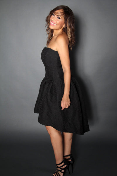 Sophisticated High Low Textured Strapless Cocktail Dress In Black - MY SEXY STYLES  - 2