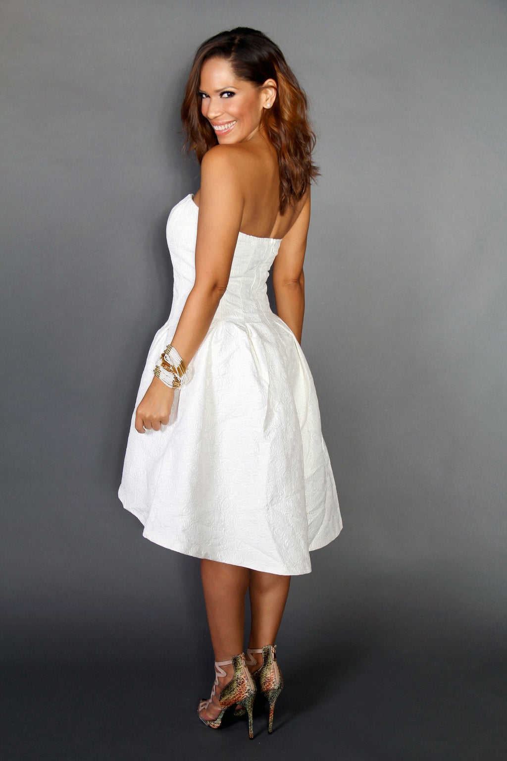 Sophisticated High Low Textured Strapless Cocktail Dress In White - MY SEXY STYLES