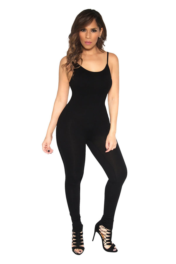 Spagetti Straps Casual Bodycon Black Catsuit - MY SEXY STYLES  - 4
