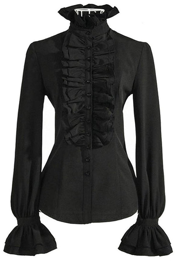 Stand-Up Ruffled Collar Buttoned Down Long Sleeves Shirt