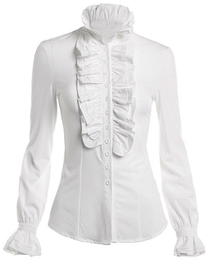 Stand-Up Ruffled Collar Buttoned Down Long Sleeves Shirt - MY SEXY STYLES