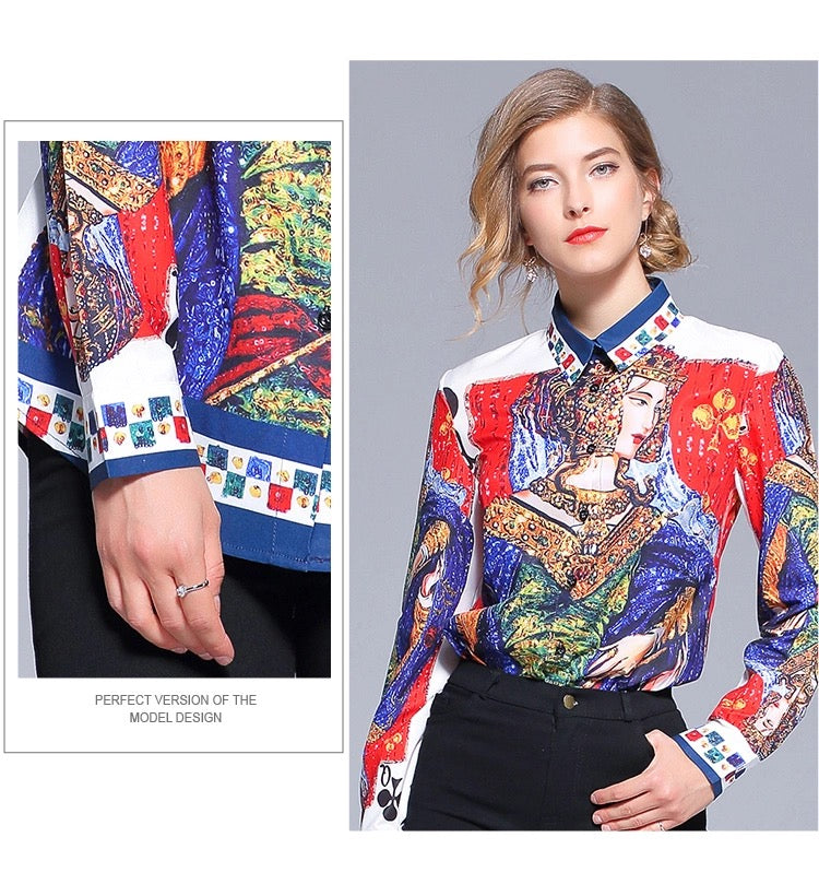 Stefano Multicolor Print Sophisticated Long Sleeves Button Down Shirt