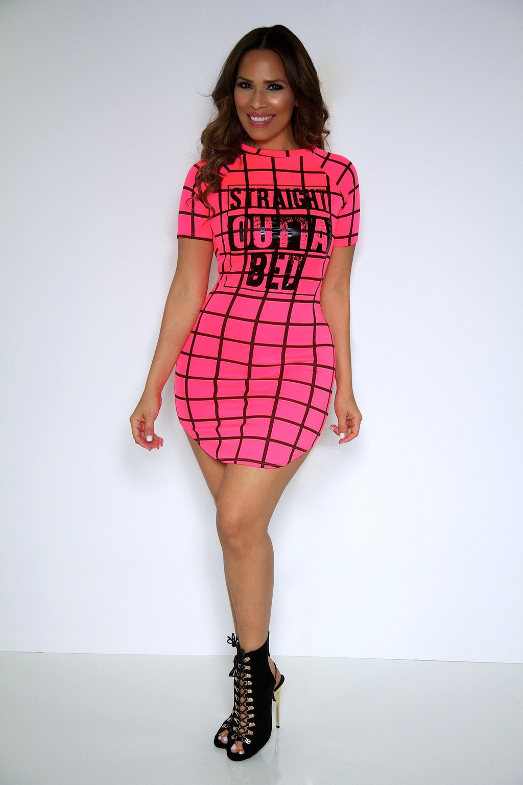 'Straight Outta Bed' Mini Dress in Neon Coral - MY SEXY STYLES