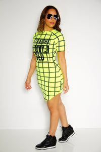 'Straight Outta Bed' Mini Dress in Neon Yellow - MY SEXY STYLES