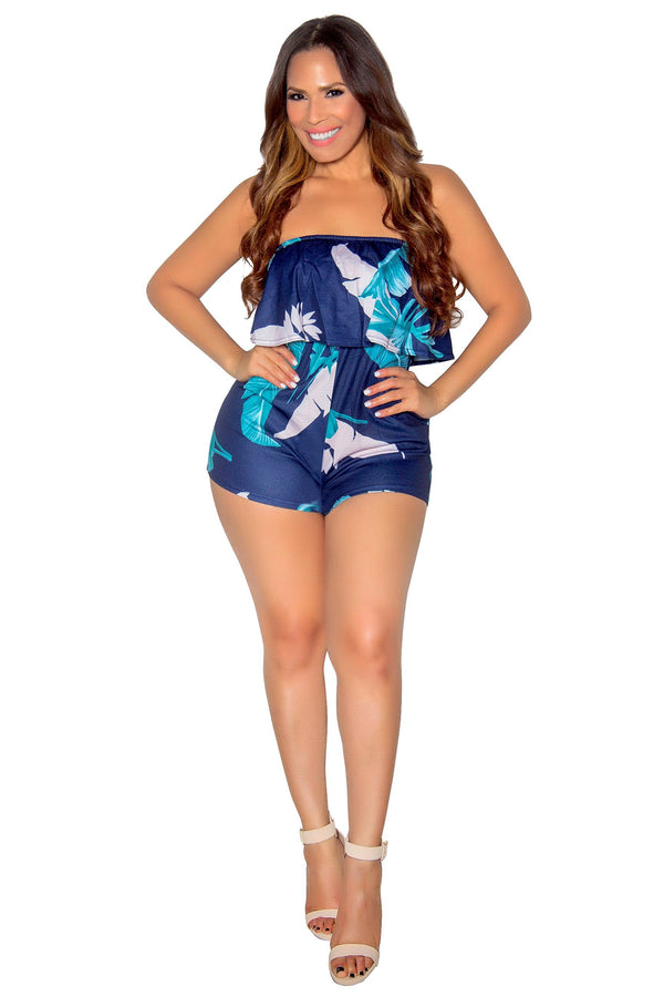 Strapless Hibiscus Print Romper With Pockets in Navy - MY SEXY STYLES