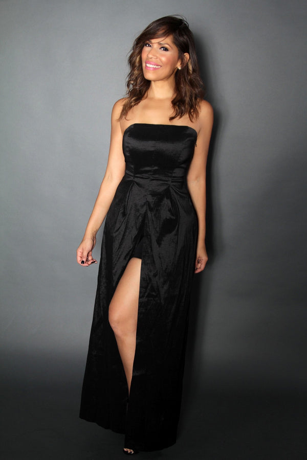 Strapless Black Jumpsuit Illusion With Front And Back Slit - MY SEXY STYLES