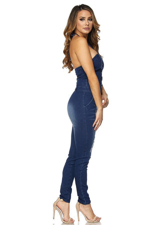 Sexy Strapless Halter Bodycon Denim Skinny Pants Jumpsuit - MY SEXY STYLES