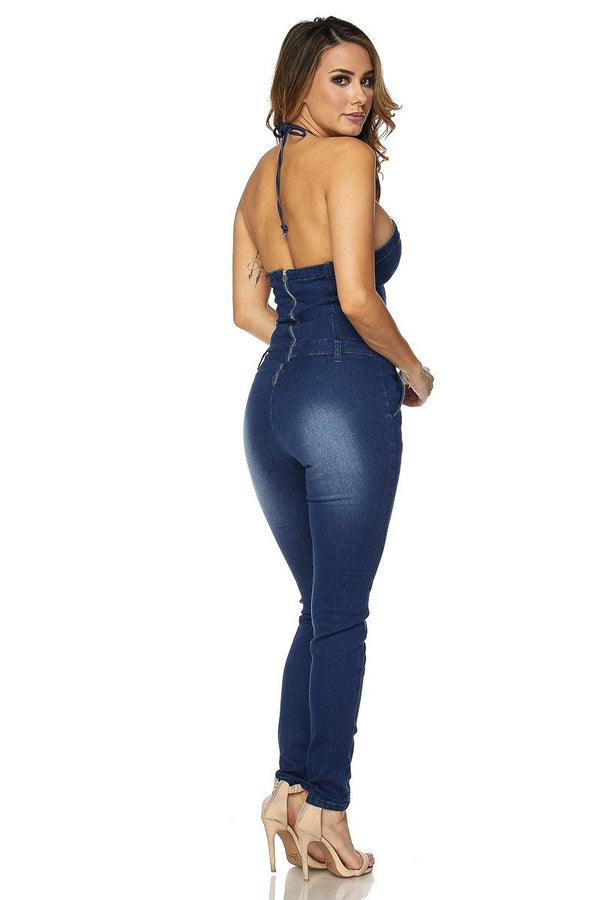 Sexy Strapless Halter Bodycon Denim Skinny Pants Jumpsuit