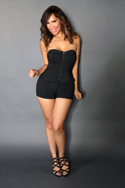 Striped Foxtress W/ Front Zipper Closure Sexy Mini Romper In Black - MY SEXY STYLES