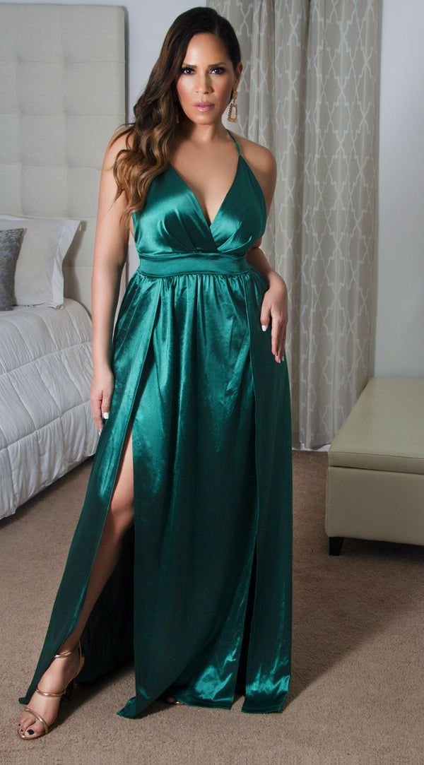 Montes Sexy Satin Deep V Neck Backless Party Evening Maxi Dress in Green