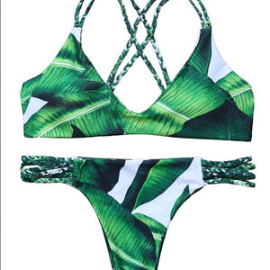 Sylvie Tropical Green Banana Leaf Print Braided Bikini Set