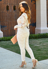 THELMA BEIGE V-NECK LONG SLEEVES IVORY LACE ON BLUSH BODYCON PARTY JUMPSUIT