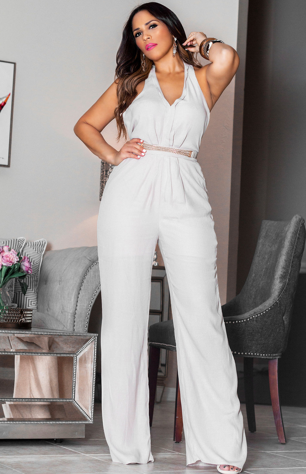 61bf090f81c4 Talia Sandstone V-Neck Halter Top Jumpsuit (Belt Included)