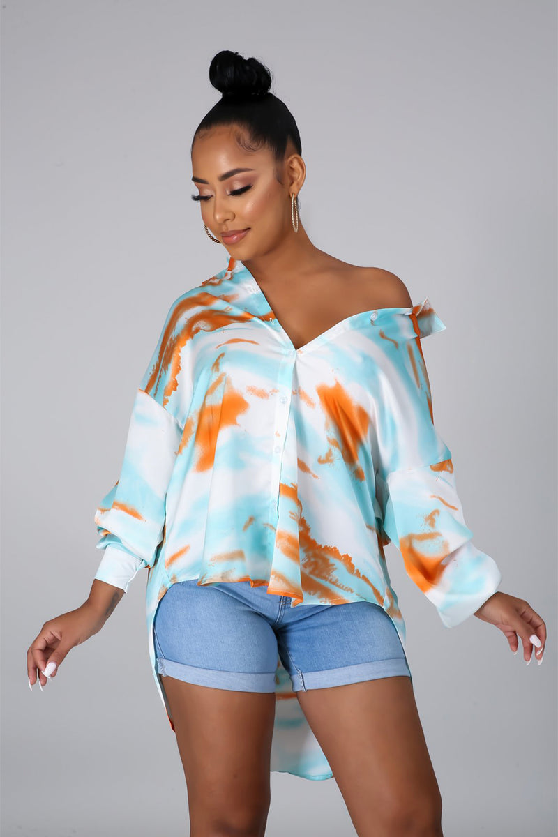 Taylor Sunset Multicolor Print Shirt