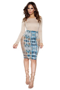 Teal Multi Animal Print Shredded High Waist Pencil Skirt - MY SEXY STYLES