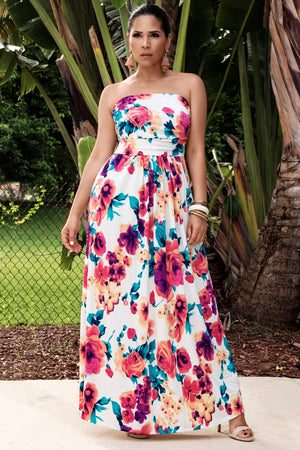 Tegan Strapless Boho Floral Print Maxi Dress With Pockets