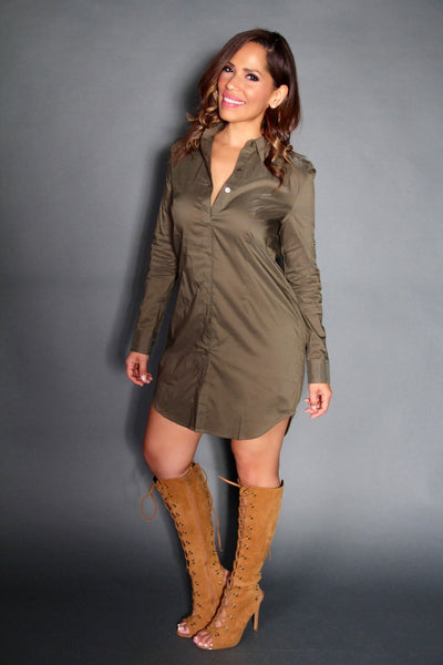 The Boyfriend Shirt Dress in Olive - MY SEXY STYLES