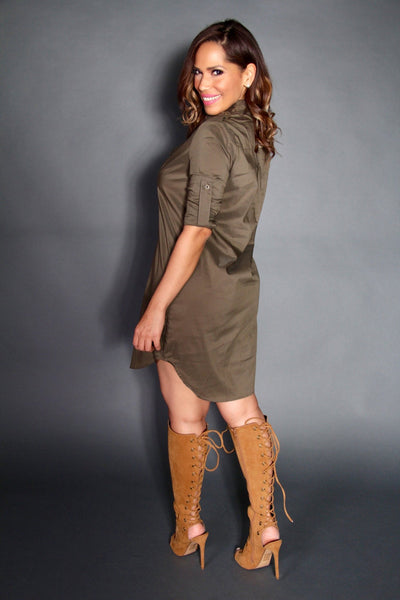 The Boyfriend Shirt Dress in Olive - MY SEXY STYLES  - 6