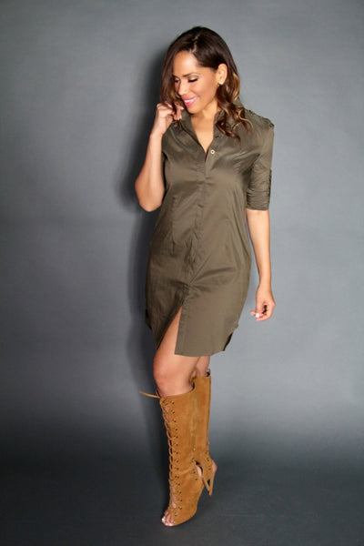 The Boyfriend Shirt Dress in Olive - MY SEXY STYLES  - 5