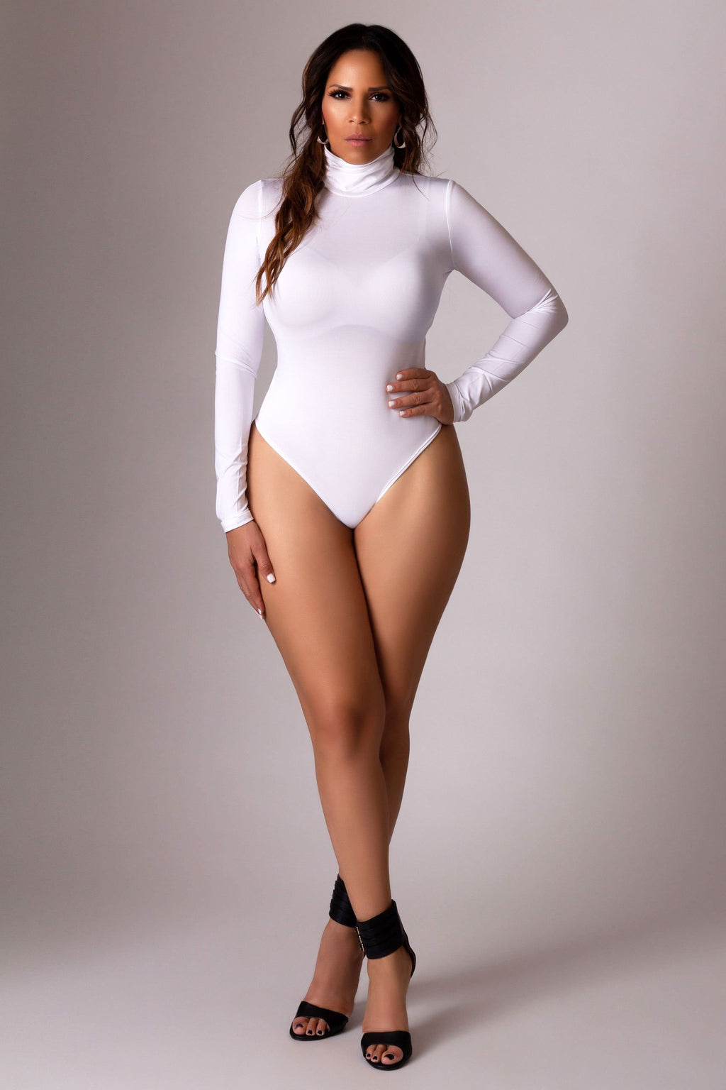 Thea Turtle Neck Top Long Sleeves Bodycon Bodysuit Thong Leotard