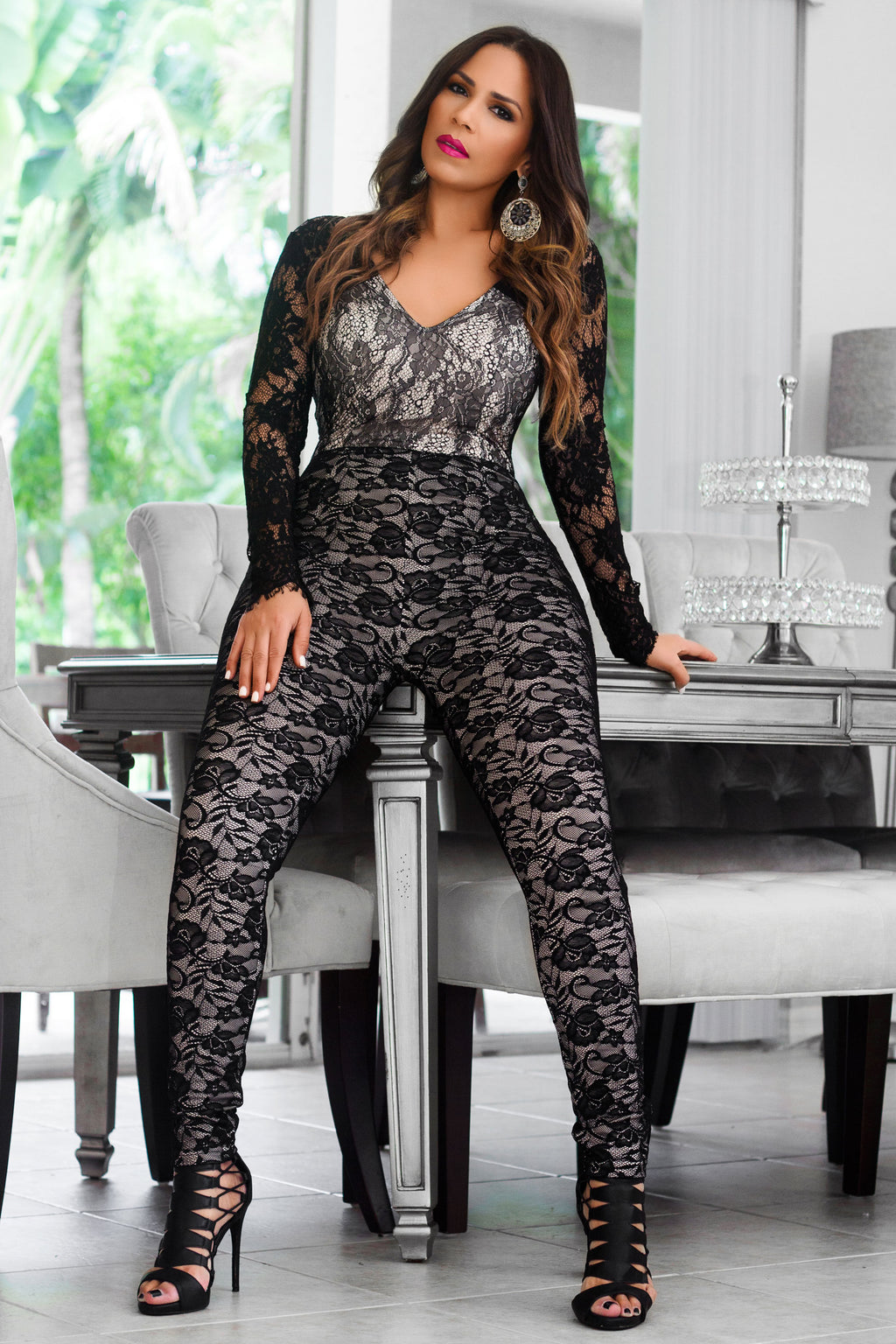 Thelma Black V-Neck Long Sleeves Ivory Lace On Blush Bodycon Party Jumpsuit