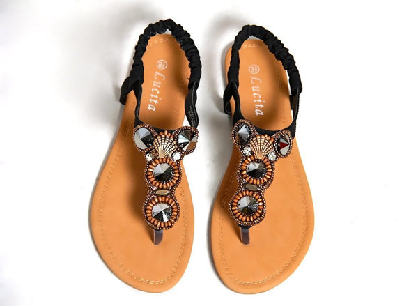 Trendy Flat Sandals With Jeweled Design - MY SEXY STYLES  - 3