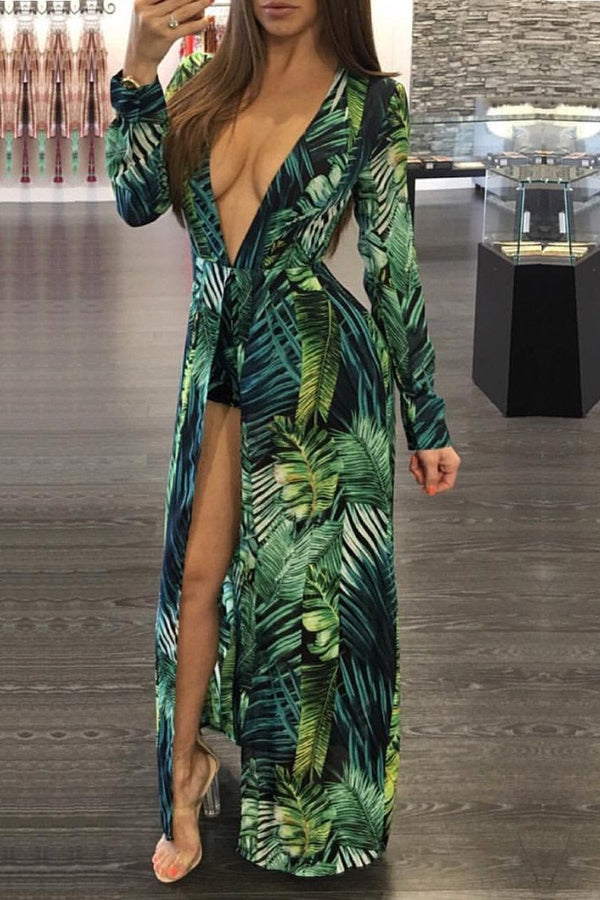 Tropical Goddess Plunging Long Sleeves Romper W/ Maxi Skirt