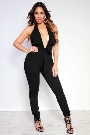 Tux Halter Top Plunging V-Neck Jumpsuit W/ Waist Tie In Black