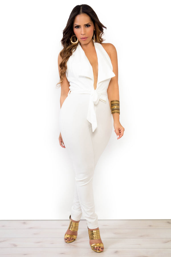 Tux Halter Top Plunging V-Neck Jumpsuit W/ Waist Tie In White