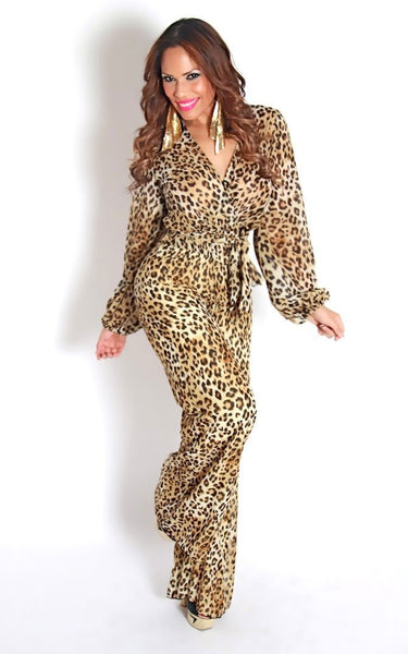 Ultra Chic And Elegant Long Sleeves Cheetah Goddess Jumpsuit - MY SEXY STYLES  - 3