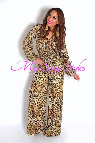 Ultra Chic And Elegant Long Sleeves Cheetah Goddess Jumpsuit - MY SEXY STYLES  - 1