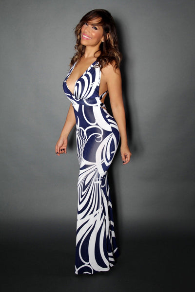 V-Neck Navy Blue White Maxi Dress With Back Cutouts - MY SEXY STYLES