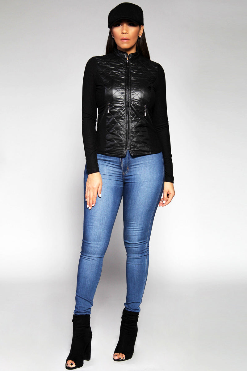 Valentina Chic Black Zip-up Stitch Detail Jacket in Black