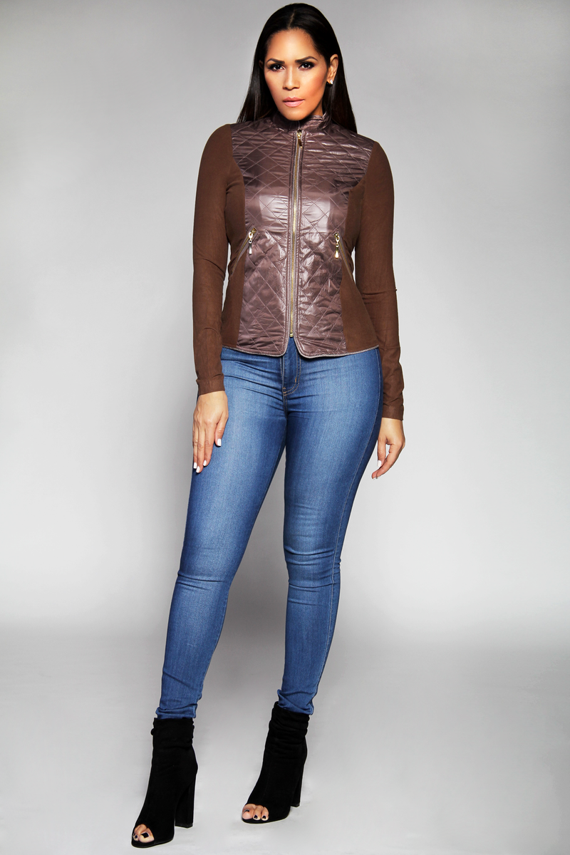 Valentina Chic Black Zip-up Stitch Detail Jacket in Brown