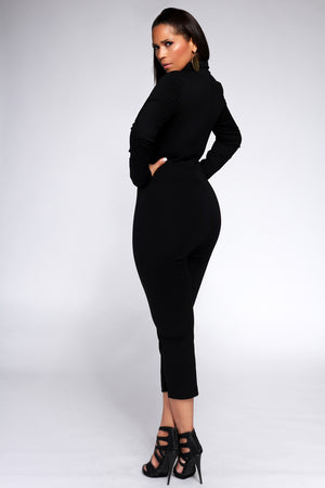 Ventura Solid Black Zipper Down Sexy V Neck Collared Jumpsuit
